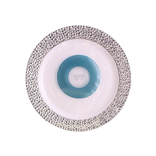 Silver Touch Collection, High Gloss Hammered Style China Like Plates, Pack Of 40 9Inch Round Party or Wedding Disposable Like Real Plates, White Plastic Plates with Hammered Silver ()