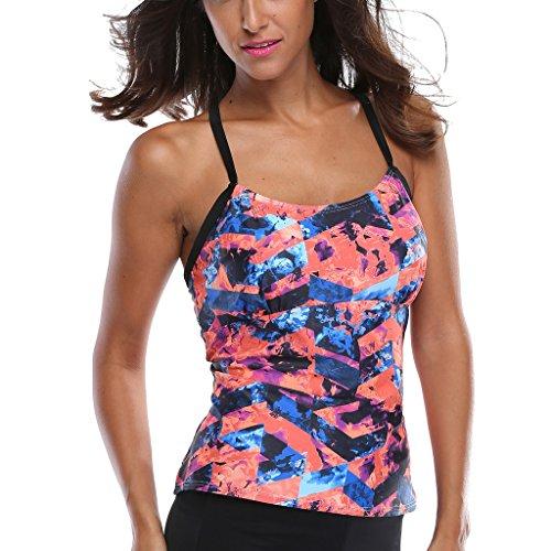 Charmleaks tankini tops swimsuits for women tankini top swimsuit tankini top black Size XXLarge Tankini Swim Top Cute Swimwear