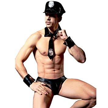 Fxwj Ropa Interior De Hombre Tangas Disfraz De Cuero Sintético Policeme Uniforme Transpirable Calzoncillos Negro (