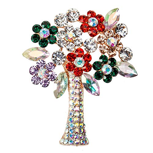 (Diamond-Bordered Christmas Brooch Colored Crystal Rhinestone Brooches Pin Badge Brooches Pin Safety Accessories Jewelry Birthday Wedding Thanksgiving Party Gifts for Women Teen Girls (Christmas Tree))