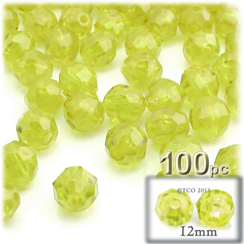 (The Crafts Outlet 100-Piece Faceted Plastic Transparent Round Beads, 12mm, Yellow)