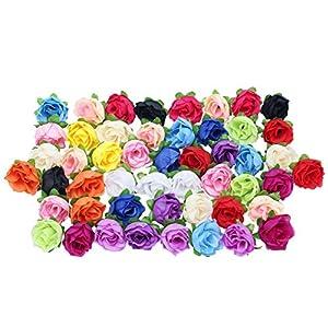 50Pcs 3.5cm Silk Mix Color Artificial Rose Flower Heads Buds Craft for Party Wedding Decor 25