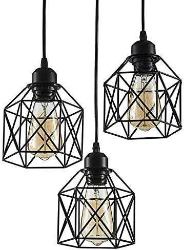 ZHU YAN 3-Light Semi-Flush Mount Ceiling Light,Farmhouse Pendant Lighting Kitchen Island Light Fixture ,Black£,Iron Mesh