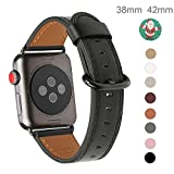 Apple Watch Band 38mm, WFEAGL Retro Top Grain Genuine Leather Band Replacement Strap with Stainless Steel Clasp for iWatch Series 3,Series 2,Series 1,Sport, Edition (Black Band+Black Buckle)