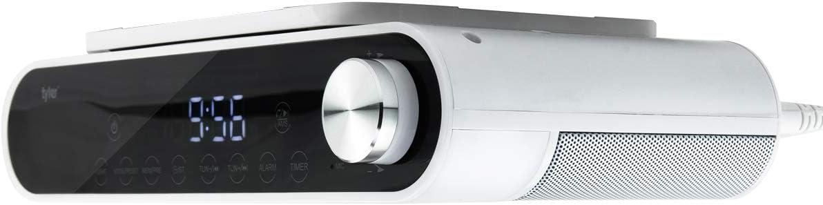 Tyler Bluetooth Under The Cabinet Universal Wireless Music System, Kitchen Clock Radio, FM Radio, Digital Clock, Hands Free Speakerphone, LED Work Surface Lighting