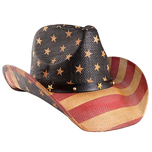 Vamuss Men's Vintage USA American Flag Cowboy Hat w/Western Shape-It Brim, Tea Stained Black Band ()