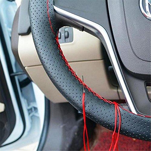 daorier Coprivolante Pelle ha cucire Coprivolante Auto Pelle bricolage Cover Volante Auto con aghi filo nero pelle PU decorazione accessorio
