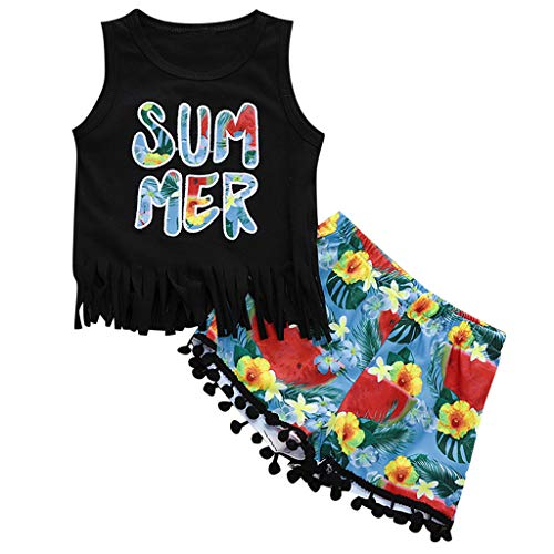 NUWFOR Summer Newborn Kids Baby Girl Boy Tassel Top T-Shirt Floral Pant Outfit Clothes(Black,18-24 Months)