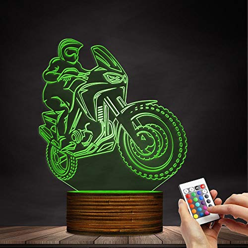 Novelty Lamp, 3D LED Lamp Optical Illusion Motorcyclist Night Light, USB Powered Remote Control Changes The Color of The Light Birthday Gift Decoration Baby Boy Girl Child,Ambient Light by LIX-XYD (Image #4)