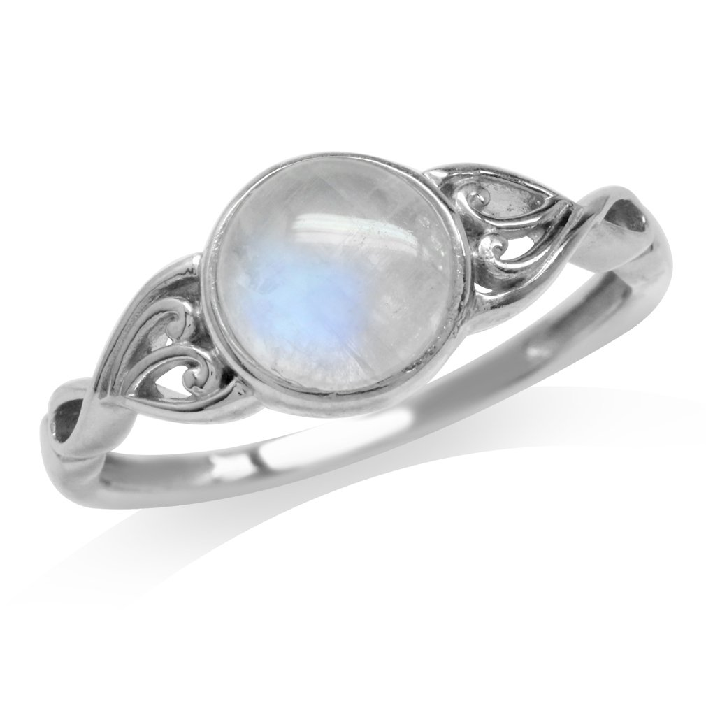 Natural Moonstone White Gold Plated 925 Sterling Silver Victorian Style Solitaire Ring Size 7