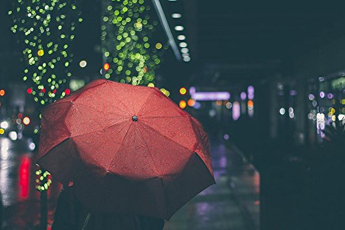 LAMINATED 36x24 inches POSTER: Umbrella Night Rain Dark Urba