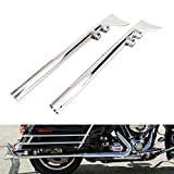 GZYF Mufflers Exhaust 1-7/8'' Fishtail Drag Pipe Slip On 1995-2016 Touring, Baggers, Dressers Chrome