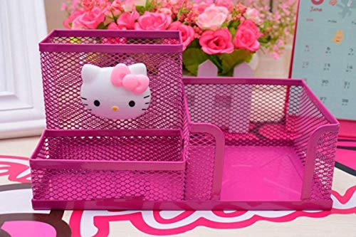 YOURNELO Cute Hello Kitty Hollow-Out Pen Pencil Holder Desk Organizer Accessories (Rose - Hello Kitty Accessories Home