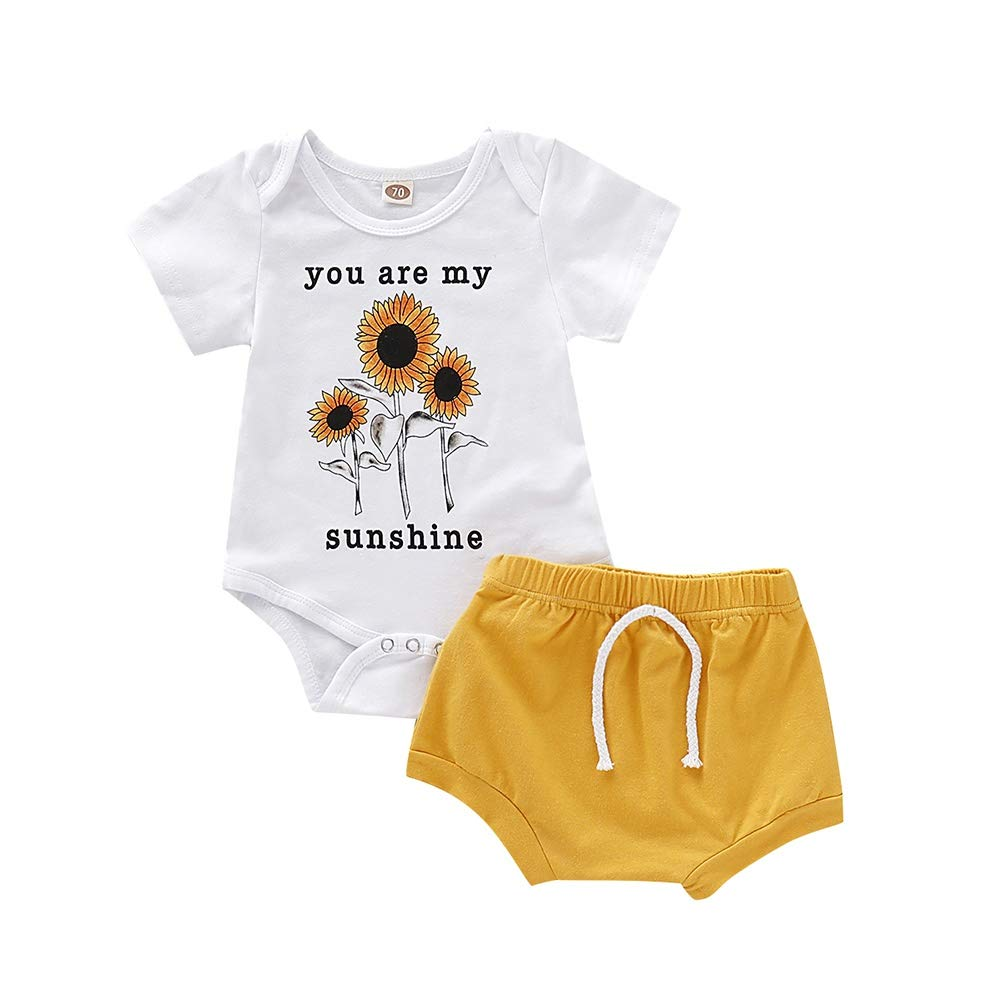 BOBORA Baby Boy Clothes Infants Short Sleeve You are My Sunshine Romper Tops with Solid Bloomers and Pants Trousers Outfits 0-18Months