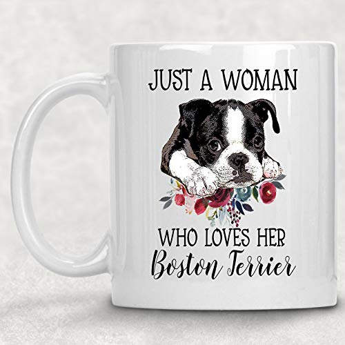 Just. Woman Who Loves her Boston Terrier Watercolor Floral Dog Lover Coffee Cup Mug