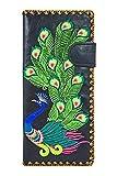 Lavishy Sacred Peacock Embroidered Large Wallet (Black)