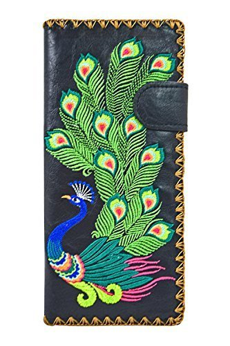 Lavishy Sacred Peacock Embroidered Large Wallet (Black) by Lavishy
