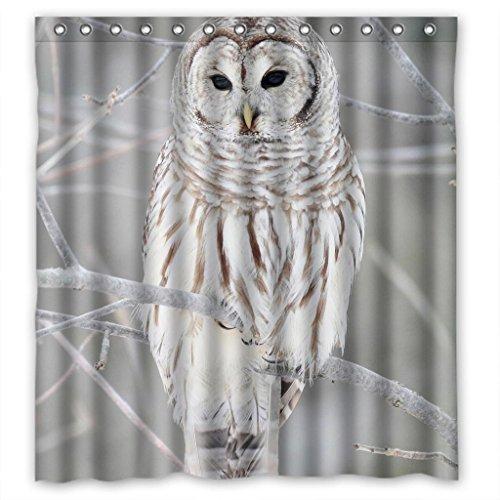 White Cute Owl Perch On Tree High Quality Fabric Bathroom Shower Curtain 66 x 72 Inches (Shower Curtain Owl)