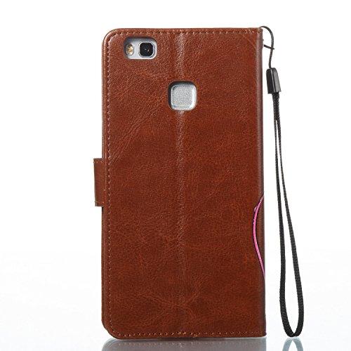 Para Huawei P9 Lite funda, (Oro) Narcisos caja del teléfono de la PU patrón en relieve ,Función de Soporte Billetera con Tapa para Tarjetas correa de mano soporte para teléfono marrón