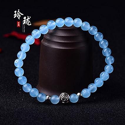 4ff4319599 Delicada pulsera de cristal natural azul de calcedonia pulsera solapa  señora regalo fino novias
