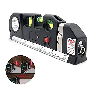 Yurieso Laser Measuring Tape,Multipurpose Laser Level Kit,Self-leveling Vertical Horizontal Cross-Line Laser Tape Measure,Retractable Stainless Steel for Men/Women Standard and Metric Ruler 8ft/2.5m