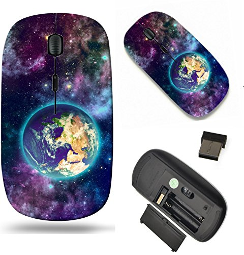 MSD Wireless Mouse Travel 2.4G Wireless Mice with USB Receiver, Noiseless and Silent Click with 1000 DPI for notebook, pc, laptop, computer, mac book design 23296661 Planet earth and galaxy of differe