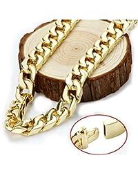 Gold chain necklace 14mm 24Karat Diamond Cut Smooth Cuban...