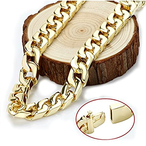 Gold chain necklace 14MM 24K Diamond cut Smooth Cuban Link with a. USA made (24) (24k Gold Necklace Solid)