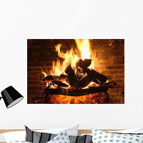 Wallmonkeys Fireplace and Amber Wall Mural Peel and Stick Graphic (36 in W x 24 in H) WM118832