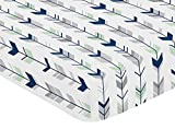 Fitted Crib Sheet for Navy Blue, Mint and Grey Woodsy Boys Baby/Toddler Bedding Set Collection - Arrow Print Reviews