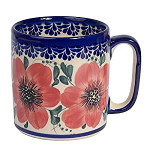 Traditional Polish Pottery, Handcrafted Ceramic Roller Mug (400 ml), Boleslawiec Style Pattern, Q.201.MALLOW