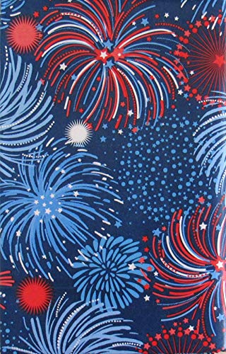 (Patriotic Red, White, Blue Fireworks Montage Vinyl Flannel Back Tablecloth (52