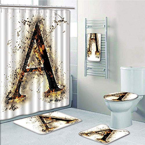 Bathroom 5 Piece Set Shower Curtain 3D Print Customized,Letter A,Fiery Pattern First Letter of Alphabet Flame Texture Worn Stained Background Decorative,Tan Black Orange,Graph Customizatio