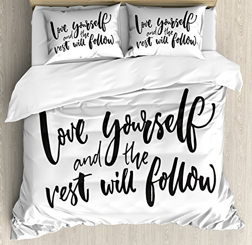 Ambesonne Saying Duvet Cover Set, Love Yourself and The Rest Will Follow Motivational Phrase Wisdom Words, Decorative 3 Piece Bedding Set with 2 Pillow Shams, King Size, Charcoal White