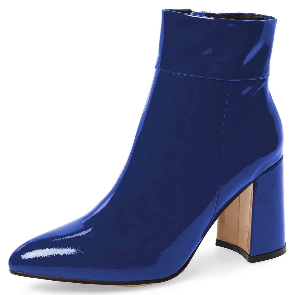 Royal bluee FSJ Women Pointed Toe Block High Heels Ankle Boots Glossy Patent Leather Party Dress Booties Size 4-15 US