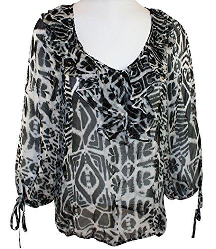 Karen Kane - Blue Mist, Swirl Print, Balloon Sleeve, Tie Collar Tunic Top (Mist Swirl)