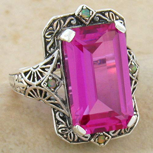 - 8 CT Pink LAB Sapphire & Opal Antique Design 925 Silver Ring Size 5.75 KN-4459