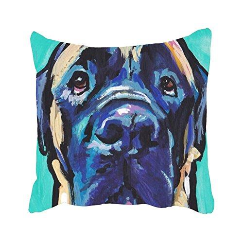 re Throw Pillow Case English Mastiff Bright Colorful Pop Dog Art Decorative Cushion Cover Pillowcase Sofa ()