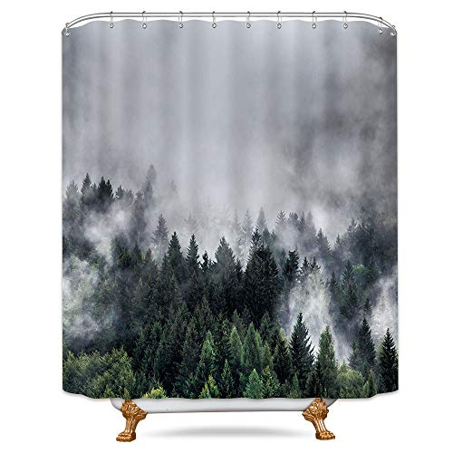 Riyidecor Forest Landscape Shower Curtain Panel Rainforest Fog Nature Smokey Green Tree Decor Fabric Set Polyester Waterproof 72x72 Inch 12 Pack Plastic Hooks (Curtains Shower Nature Trees)