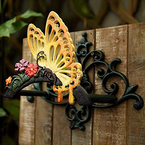Sungmor Heavy Duty Cast Iron Hose Holder,Garden & Yard Decorative Butterfly Wall Mounted Hose Butler,Water Pipe Holds,Rack,Hanger,Antique Wall Decorations (Butterfly Hose Holder)