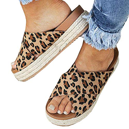 SNIDEL Espadrilles Wedges for Women Strappy Leather Sandals Platform Slides Open Toe Slippers Summer Slip on Shoes Leopard 6 B (M) US