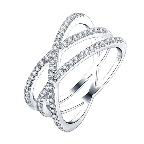 - AoedeJ Women Double Criss Cross 925 Silver Sterling Ring CZ Wedding Rings Infinity Everyday Ring Size 6-9 (7)