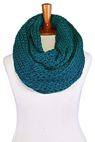 Basico Women Warm Circle Ring Infinity Scarf Neck Warmer Various Colors (Waffle Dark Teal)