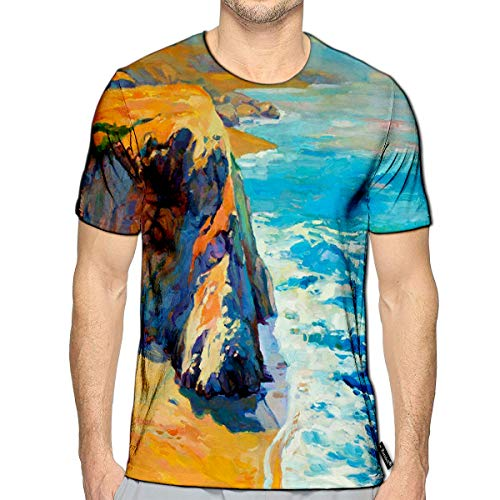 3D Printed T-Shirts Ocean Sea Coast Cliffs Canvas Modern Impressionism Short SLE