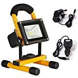 Nestling10W LED YELLOW RECHARGEABLE / PORTABLE FLOOD / WORK LIGHT IN COOL / DAY WHITE ** EASY TO USE FLOODLIGHT - IDEAL FOR CAMPING, WORKSHOPS, BOATS, ETC **