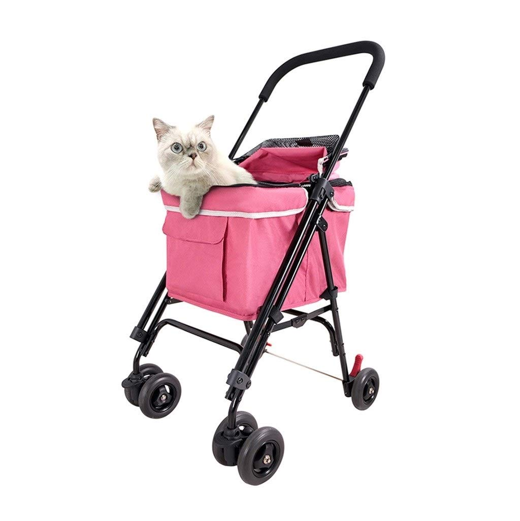 Pink RYAN Dog Pushchair, Stroller Pram Carrier Portable Folding Traveling Outdoor Disabled Pet Cat Trolley For Small Dogs Carriage (color   Pink)