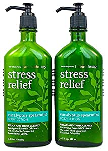 Bath and Body Works Aromatherapy Body Lotion Eucalyptus Spearmint (2-Pack), 6.5 oz each