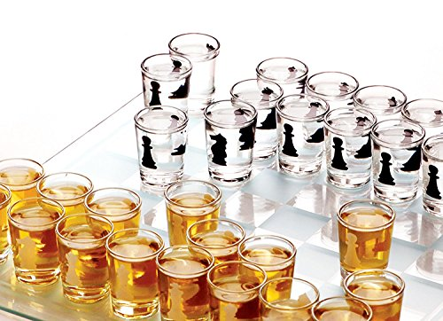 Home Essentials & Beyond Funville Chess Drinking Game with Shot Glasses, Clear]()