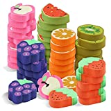 96 Mini Fruit Erasers in 6 Assorted Cute Designs - Ideal for Birthday Loot Goodies Bag, Novelty Party Favors, Pinata Stuffers, Classroom Rewards or Prizes, School Party Supplies