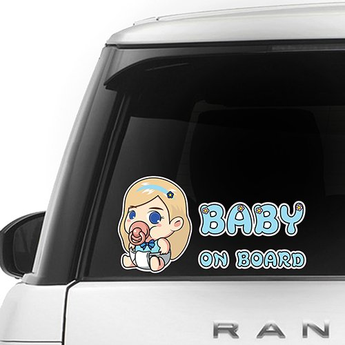 Sky Blue CUSTOMI Florist Baby on Board ENG-FLORIST-001 Brown Full Color Car Window Safety Sign Decal Sticker